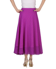 DeeVineeTi Women's Blended Georgette Purple Polka Dot Long Wrap-Around Skirt WA000165 Freesize Mid-Calf Back
