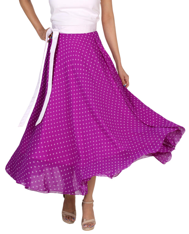 DeeVineeTi Women's Blended Georgette Purple Polka Dot Long Wrap-Around Skirt WA000165 Freesize Mid-Calf Front