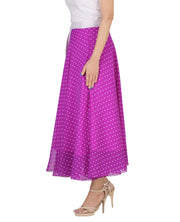DeeVineeTi Women's Blended Georgette Purple Polka Dot Long Wrap-Around Skirt WA000165 Freesize Mid-Calf Left
