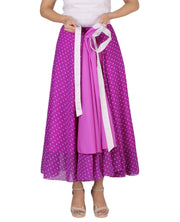 DeeVineeTi Women's Blended Georgette Purple Polka Dot Long Wrap-Around Skirt WA000165 Freesize Mid-Calf Lined