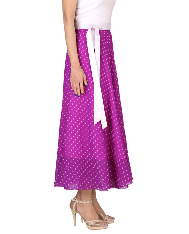 DeeVineeTi Women's Blended Georgette Purple Polka Dot Long Wrap-Around Skirt WA000165 Freesize Mid-Calf Right