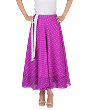 DeeVineeTi Women's Blended Georgette Purple Polka Dot Long Wrap-Around Skirt WA000165 Freesize Mid-Calf