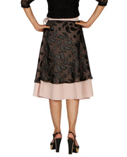 DeeVineeTi Women's Brasso Black Layered Wrap-Around Skirt WA000199 FreeSize Peach Crepe Solid Mid-Calf Back