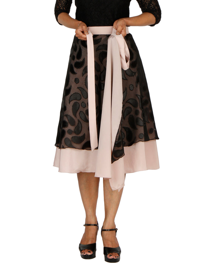 DeeVineeTi Women's Brasso Black Layered Wrap-Around Skirt WA000199 FreeSize Peach Crepe Solid Mid-Calf Lined