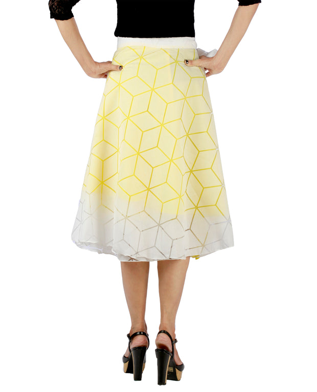 DeeVineeTi Women's Brasso Cotton Yellow Self Design Wrap-Around Skirt WA000193 FreeSize White Solid Ruffled Mid-Calf Back