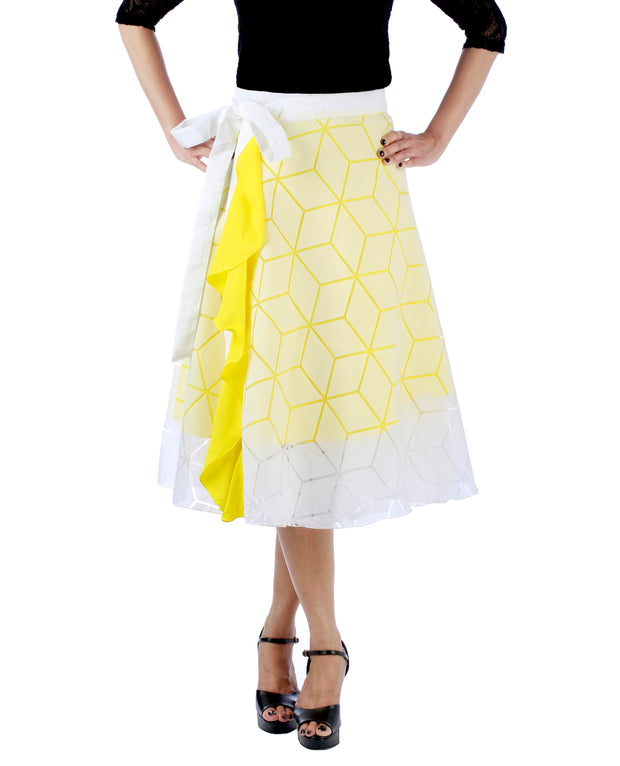 DeeVineeTi Women's Brasso Cotton Yellow Self Design Wrap-Around Skirt WA000193 FreeSize White Solid Ruffled Mid-Calf Front