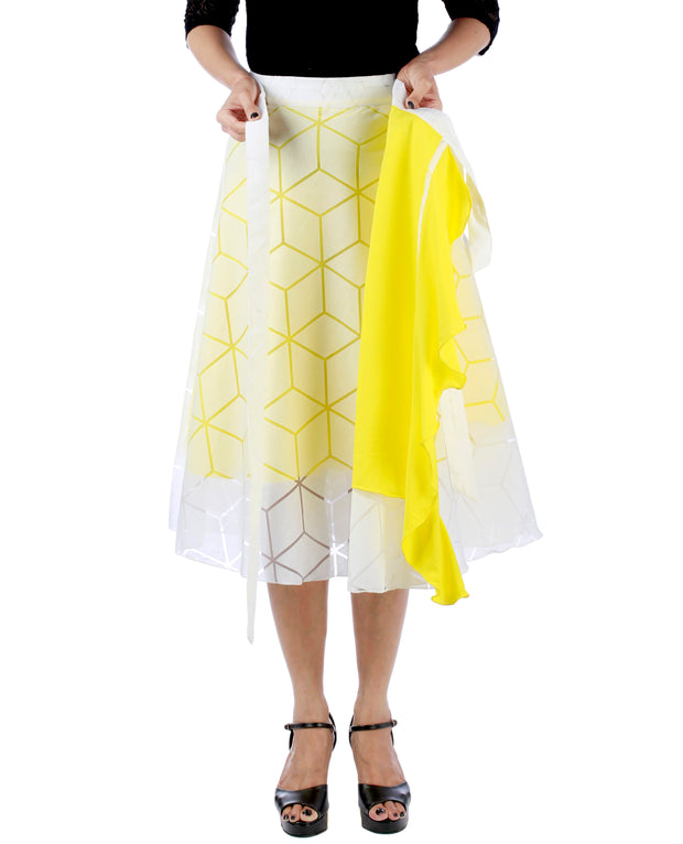 DeeVineeTi Women's Brasso Cotton Yellow Self Design Wrap-Around Skirt WA000193 FreeSize White Solid Ruffled Mid-Calf Lined