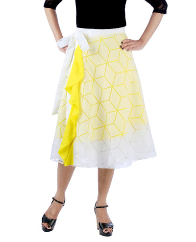 DeeVineeTi Women's Brasso Cotton Yellow Self Design Wrap-Around Skirt WA000193 FreeSize White Solid Ruffled Mid-Calf