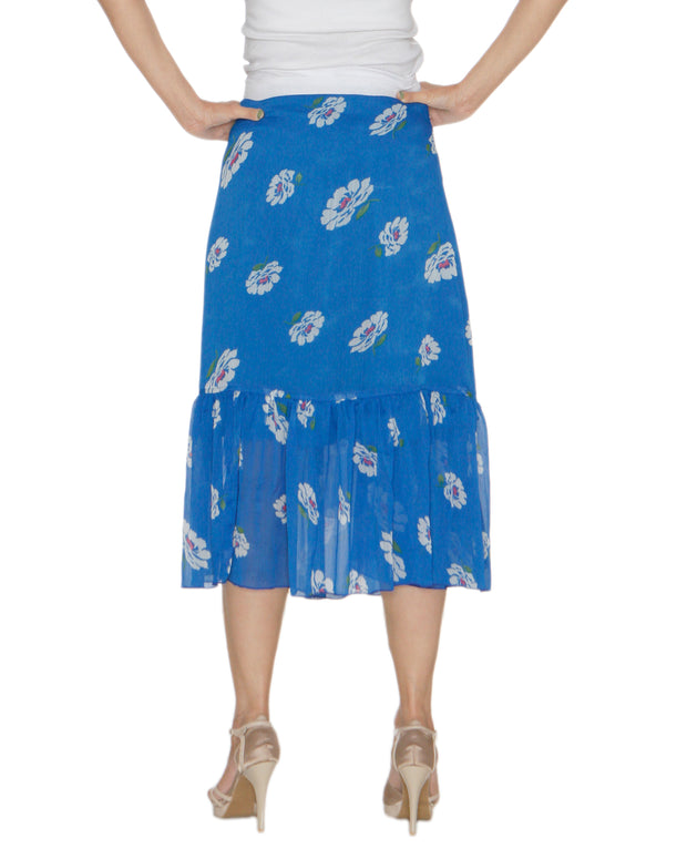 DeeVineeTi Women's Chiffon Blue White Floral Printed Ruffled Wrap Around Skirt WA000212 FreeSize Mid Calf Back
