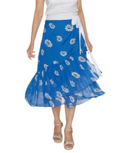 DeeVineeTi Women's Chiffon Blue White Floral Printed Ruffled Wrap Around Skirt WA000212 FreeSize Mid Calf Front