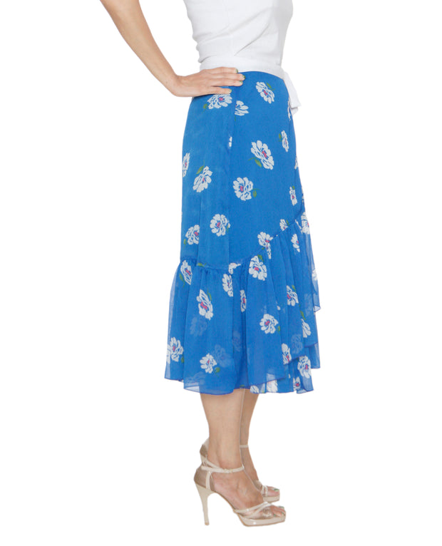 DeeVineeTi Women's Chiffon Blue White Floral Printed Ruffled Wrap Around Skirt WA000212 FreeSize Mid Calf Left