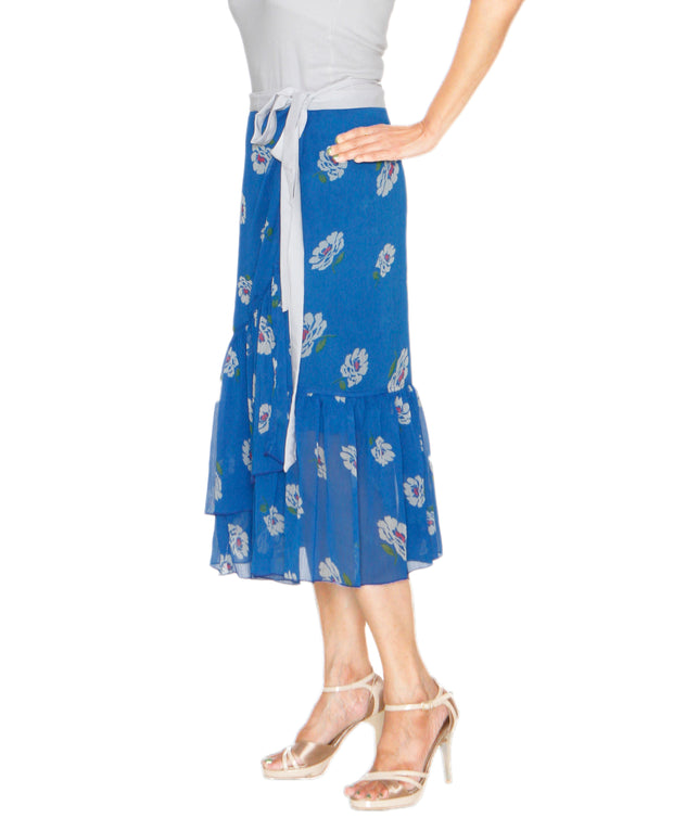 DeeVineeTi Women's Chiffon Blue White Floral Printed Ruffled Wrap Around Skirt WA000212 FreeSize Mid Calf Right