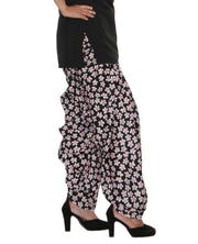 DeeVineeTi Women's Crepe Black Floral Printed FreeSize Patiala Salwar DVSR0019 Right