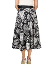 DeeVineeTi Women's Crepe Black Floral Printed Wrap-Around Skirt WA000128 Freesize Mid-Calf Back