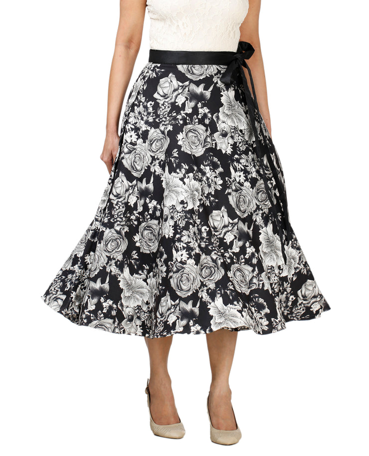 DeeVineeTi Women's Crepe Black Floral Printed Wrap-Around Skirt WA000128 Freesize Mid-Calf Front