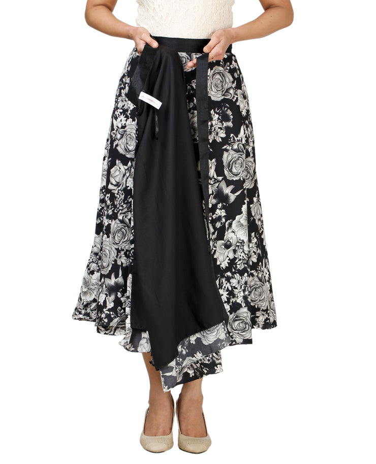 DeeVineeTi Women's Crepe Black Floral Printed Wrap-Around Skirt WA000128 Freesize Mid-Calf Lined