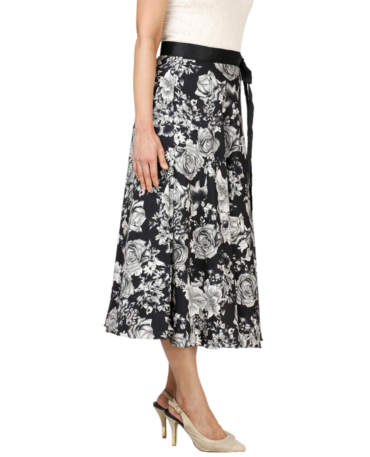 DeeVineeTi Women's Crepe Black Floral Printed Wrap-Around Skirt WA000128 Freesize Mid-Calf Right