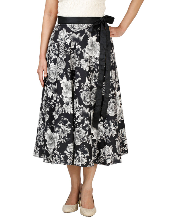 DeeVineeTi Women's Crepe Black Floral Printed Wrap-Around Skirt WA000128 Freesize Mid-Calf