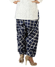 DeeVineeTi Women's Crepe Blue Checkered Print FreeSize Patiala Salwar DVSR0001 Back