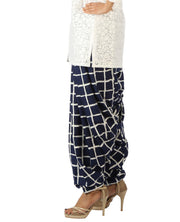 DeeVineeTi Women's Crepe Blue Checkered Print FreeSize Patiala Salwar DVSR0001 Left