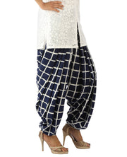 DeeVineeTi Women's Crepe Blue Checkered Print FreeSize Patiala Salwar DVSR0001 Right