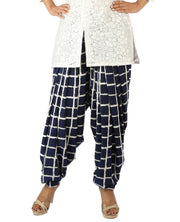DeeVineeTi Women's Crepe Blue Checkered Print FreeSize Patiala Salwar DVSR0001