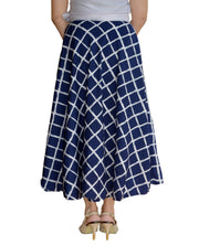 DeeVineeTi Women's Crepe Blue Checkered Printed Wrap-Around Skirt WA000125 Freesize Mid-Calf Back