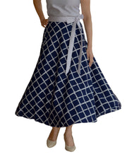 DeeVineeTi Women's Crepe Blue Checkered Printed Wrap-Around Skirt WA000125 Freesize Mid-Calf Front