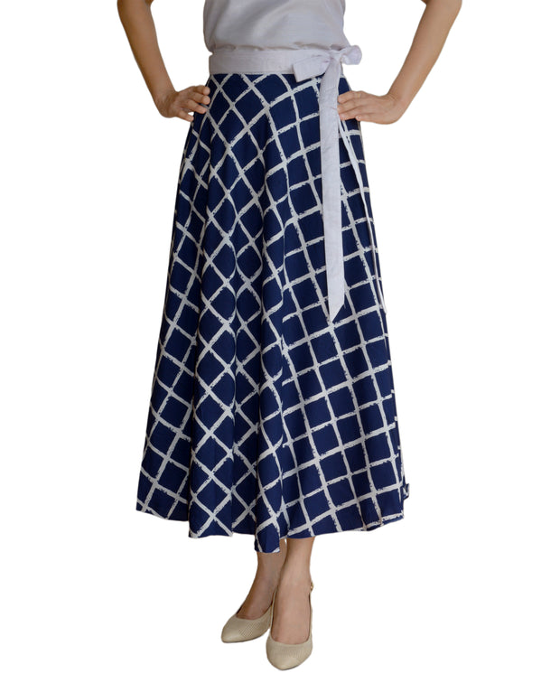 DeeVineeTi Women's Crepe Blue Checkered Printed Wrap-Around Skirt WA000125 Freesize Mid-Calf