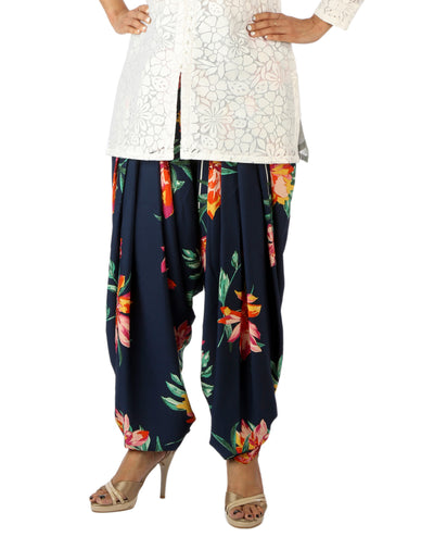 DeeVineeTi Women's Crepe Blue Floral Printed FreeSize Patiala Salwar DVSR0004 Front