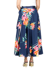DeeVineeTi Women's Crepe Blue Floral Printed Mid-Calf Wrap-Around Skirt WA000132 Freesize Back