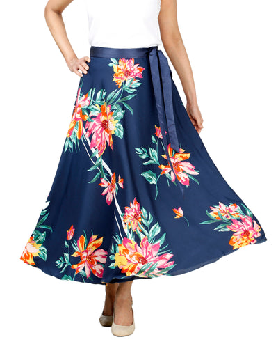DeeVineeTi Women's Crepe Blue Floral Printed Mid-Calf Wrap-Around Skirt WA000132 Freesize Front