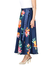 DeeVineeTi Women's Crepe Blue Floral Printed Mid-Calf Wrap-Around Skirt WA000132 Freesize Left