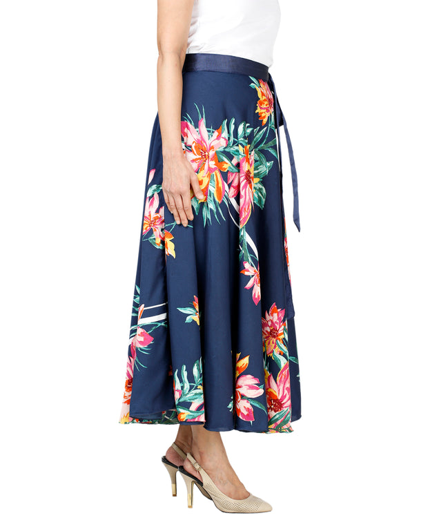 DeeVineeTi Women's Crepe Blue Floral Printed Mid-Calf Wrap-Around Skirt WA000132 Freesize Right