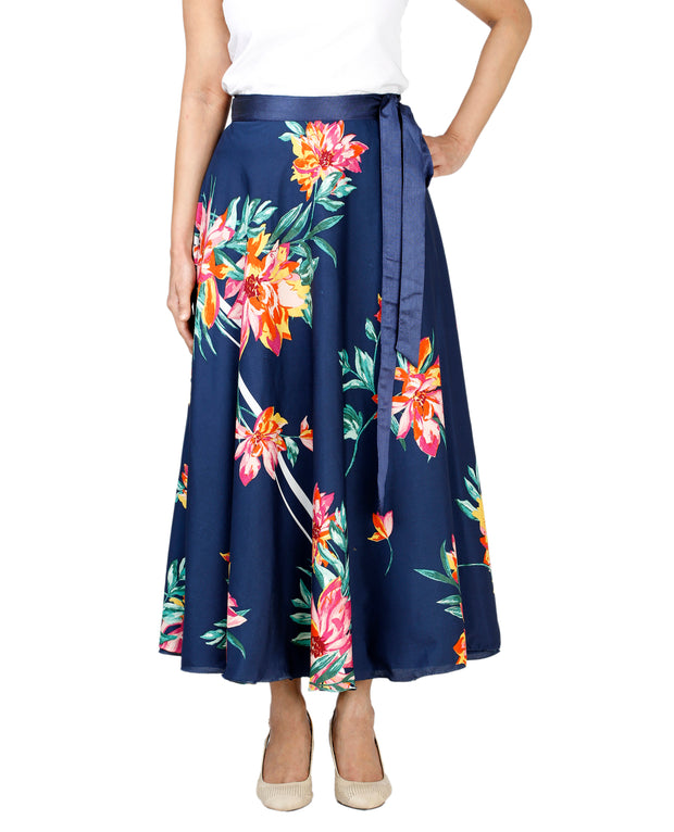 DeeVineeTi Women's Crepe Blue Floral Printed Mid-Calf Wrap-Around Skirt WA000132 Freesize