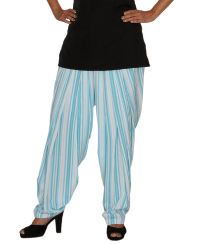 DeeVineeTi Women's Crepe Blue Striped Printed FreeSize Patiala Salwar DVSR0015 Front