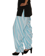 DeeVineeTi Women's Crepe Blue Striped Printed FreeSize Patiala Salwar DVSR0015 Left