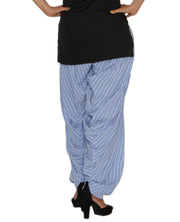 DeeVineeTi Women's Crepe Blue Striped Printed FreeSize Patiala Salwar DVSR0021 Back