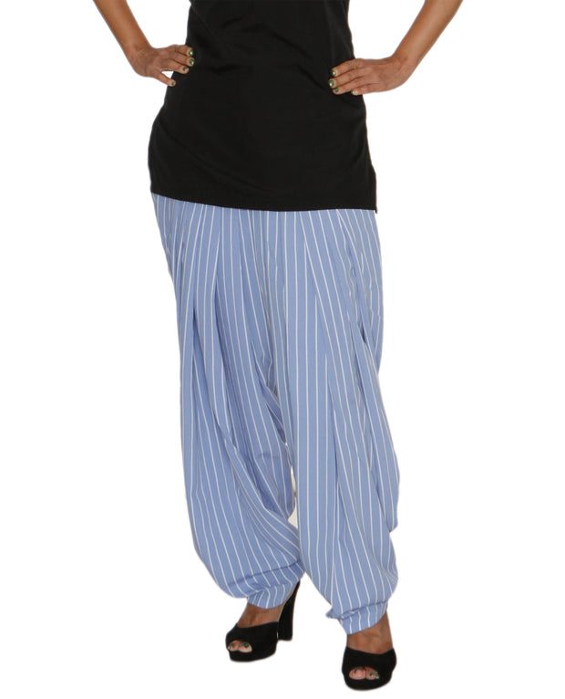 DeeVineeTi Women's Crepe Blue Striped Printed FreeSize Patiala Salwar DVSR0021 Front