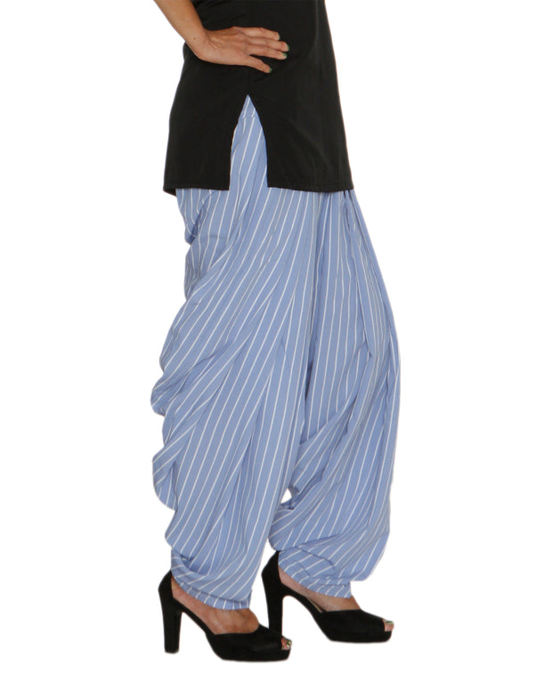 DeeVineeTi Women's Crepe Blue Striped Printed FreeSize Patiala Salwar DVSR0021 Right