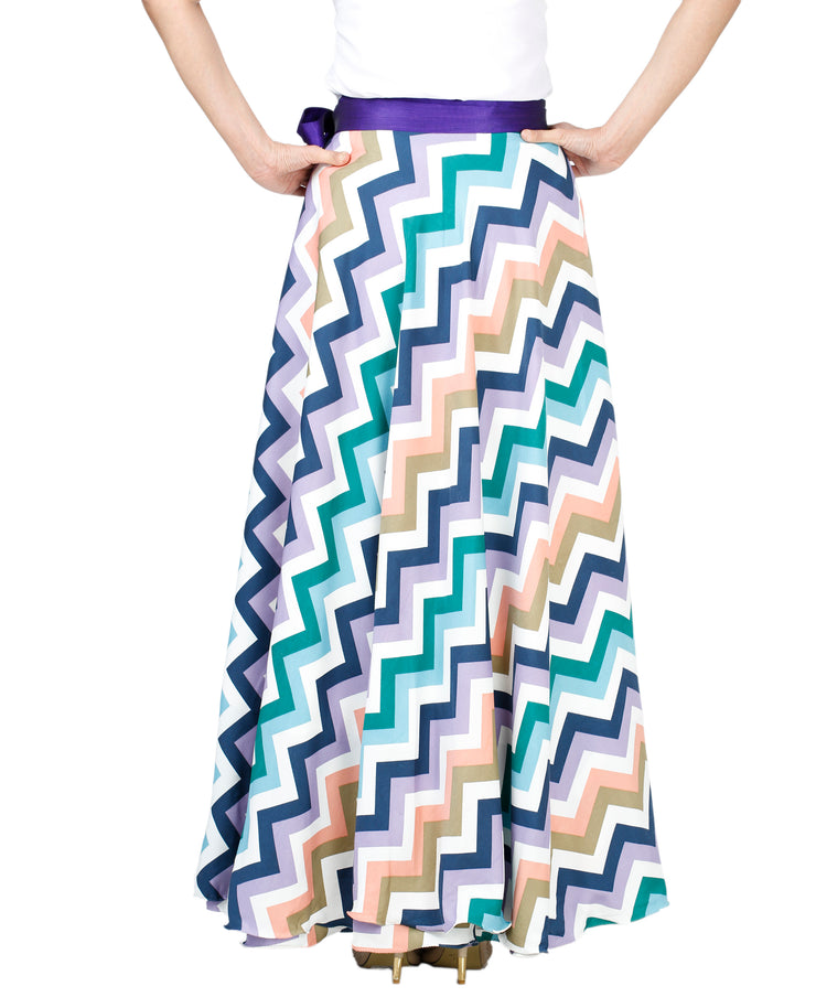 DeeVineeTi Women's Crepe Multicolor Chevron Printed Maxi Wrap-Around Skirt WA000136 Freesize Back