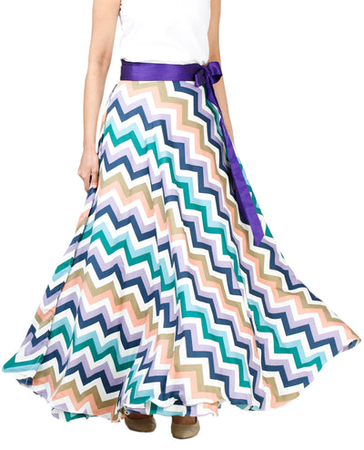 DeeVineeTi Women's Crepe Multicolor Chevron Printed Maxi Wrap-Around Skirt WA000136 Freesize Front