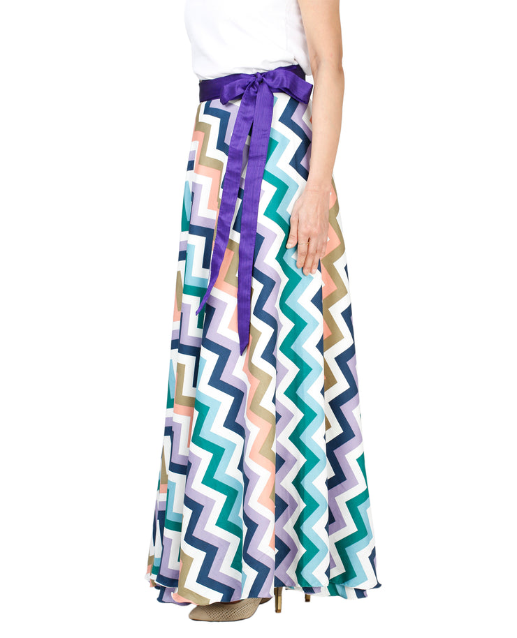 DeeVineeTi Women's Crepe Multicolor Chevron Printed Maxi Wrap-Around Skirt WA000136 Freesize Left