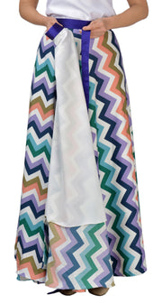 DeeVineeTi Women's Crepe Multicolor Chevron Printed Maxi Wrap-Around Skirt WA000136 Freesize Lined