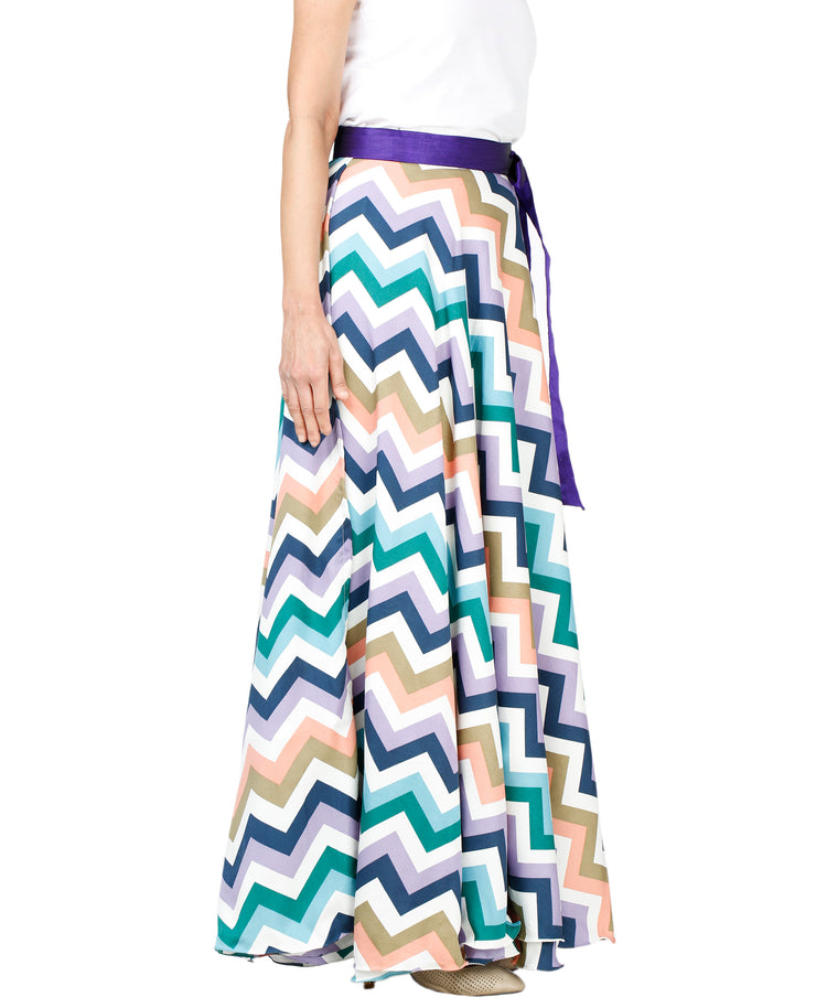 DeeVineeTi Women's Crepe Multicolor Chevron Printed Maxi Wrap-Around Skirt WA000136 Freesize Right