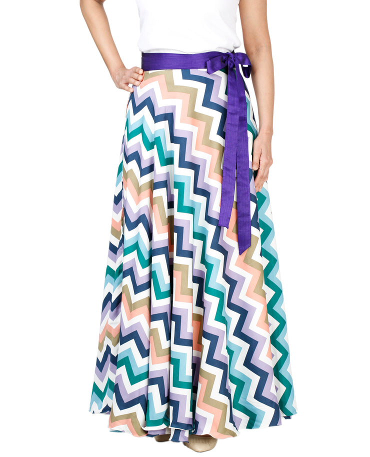 DeeVineeTi Women's Crepe Multicolor Chevron Printed Maxi Wrap-Around Skirt WA000136 Freesize