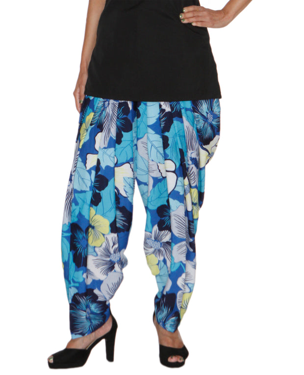 DeeVineeTi Women's Crepe Multicolor Floral Printed FreeSize Patiala Salwar DVSR0023 Front