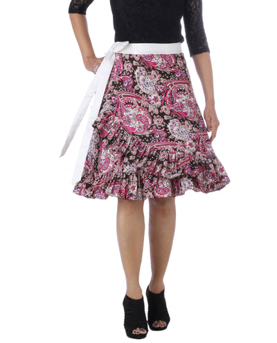 DeeVineeTi Women's Crepe Multicolor Ruffle Paisley Printed Wrap-Around Skirt WA000173 Freesize Short Front