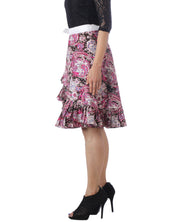 DeeVineeTi Women's Crepe Multicolor Ruffle Paisley Printed Wrap-Around Skirt WA000173 Freesize Short Left