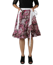 DeeVineeTi Women's Crepe Multicolor Ruffle Paisley Printed Wrap-Around Skirt WA000173 Freesize Short Lined